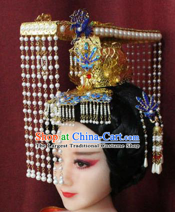 Chinese Ancient Queen Hair Accessories Tang Dynasty Empress Phoenix Coronet Hat for Women