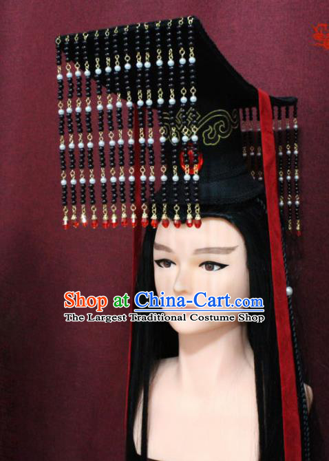 Chinese Traditional Swordsman Hair Accessories Ancient Qin Dynasty Emperor Tassel Hat for Men