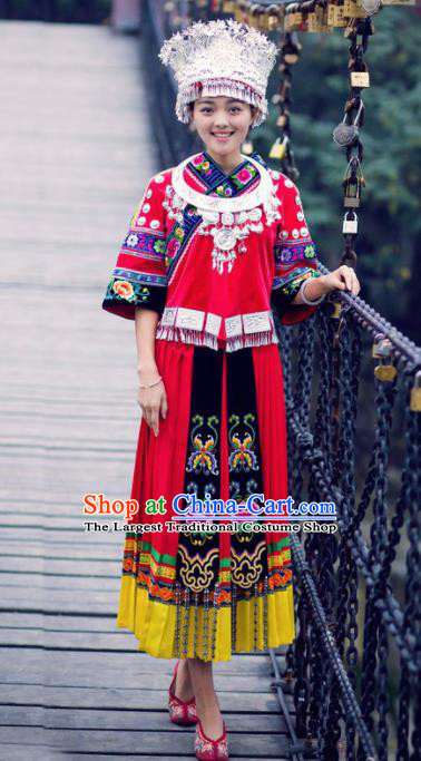 Chinese Traditional Miao Minority Dance Embroidered Costumes and Hat Complete Set for Women