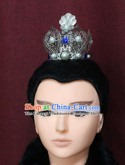 Chinese Traditional Swordsman Hair Accessories Ancient Han Dynasty Prince Lotus Hairdo Crown for Men