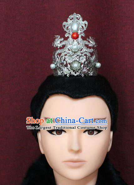 Chinese Traditional Swordsman Hair Accessories Ancient Han Dynasty Prince Dragons Hairdo Crown for Men