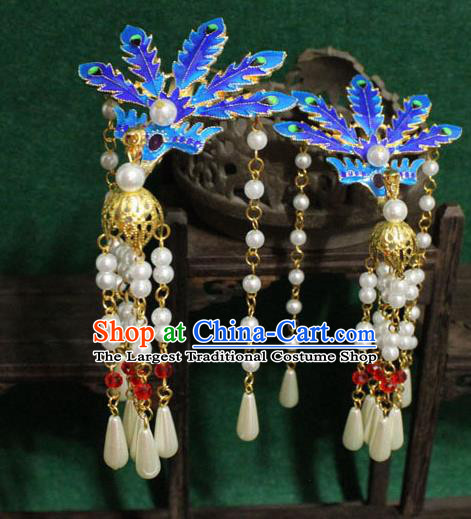 Chinese Ancient Empress Handmade Hair Accessories Blueing Phoenix Tassel Hairpins for Women