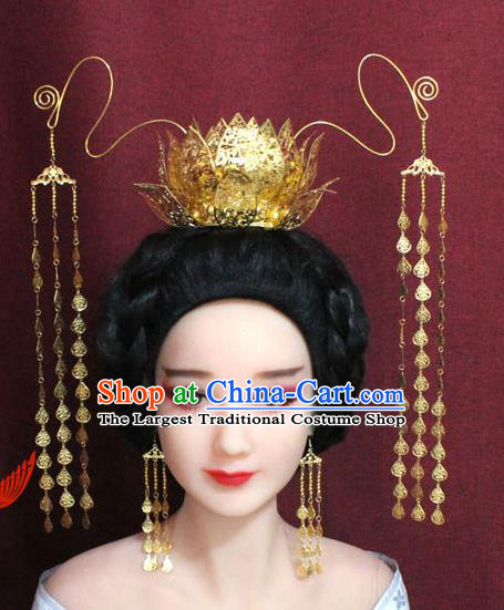 Chinese Ancient Empress Handmade Golden Lotus Phoenix Coronet Hair Accessories Hairpins for Women