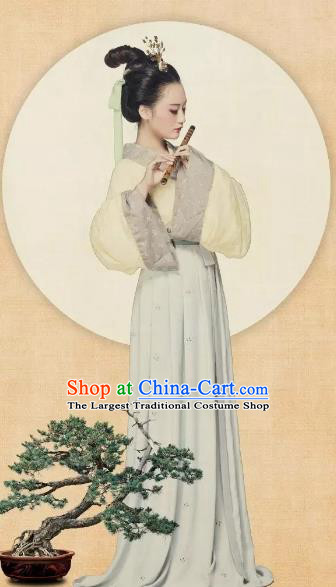 Chinese Ancient Jin Dynasty Palace Lady Hanfu Dress Princess Embroidered Costumes for Women
