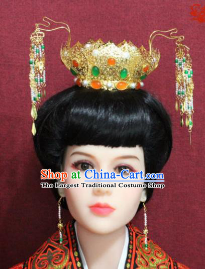 Chinese Handmade Queen Lotus Phoenix Hairpins Ancient Imperial Consort Hair Accessories for Women
