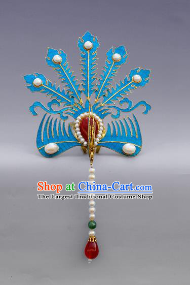 Chinese Ancient Qing Dynasty Handmade Tian-Tsui Phoenix Hairpins Hair Accessories Hanfu Hair Clip for Women