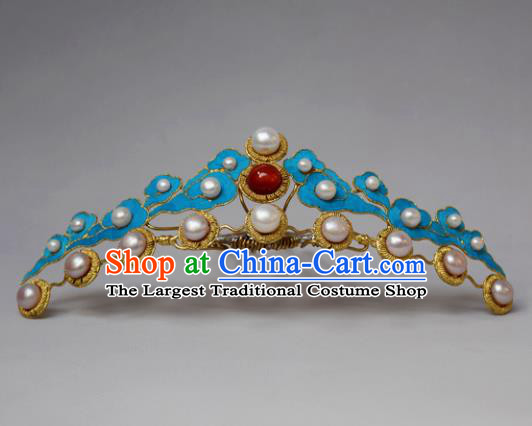 Chinese Ancient Qing Dynasty Hair Accessories Hair Comb Handmade Palace Tian-Tsui Hairpins for Women