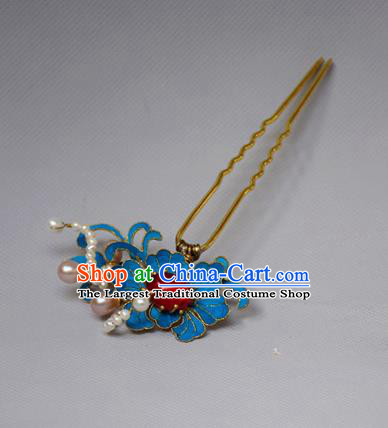 Chinese Ancient Qing Dynasty Hair Accessories Handmade Palace Tian-Tsui Lotus Hairpins for Women