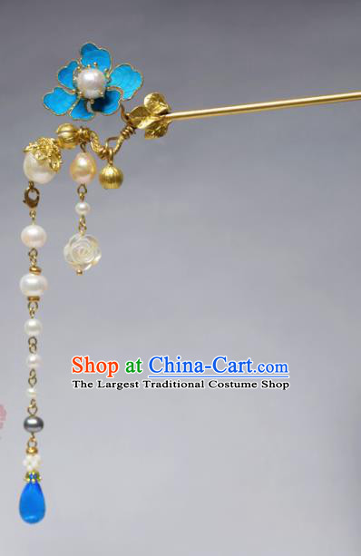 Chinese Ancient Qing Dynasty Hair Accessories Tassel Hair Clip Handmade Palace Tian-Tsui Hairpins for Women