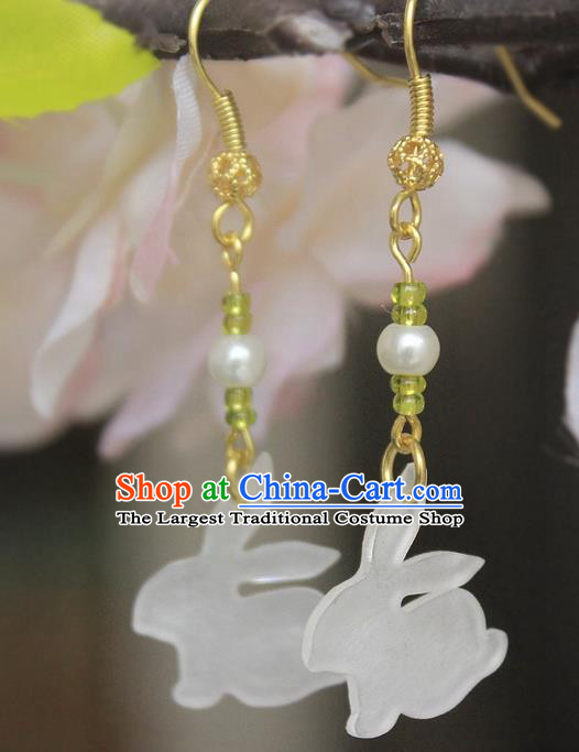 Asian Chinese Traditional Jewelry Accessories Jade Rabbit Earrings for Women