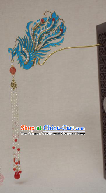 Chinese Qing Dynasty Hairpins Phoenix Step Shake Hair Accessories Ancient Handmade Hanfu Hair Clip for Women