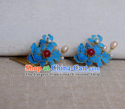 Chinese Handmade Hairpins Hair Accessories Ancient Hanfu Blueing Hair Comb for Women