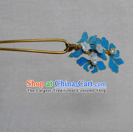 Chinese Handmade Hairpins Hair Accessories Ancient Hanfu Blueing Hair Clip for Women