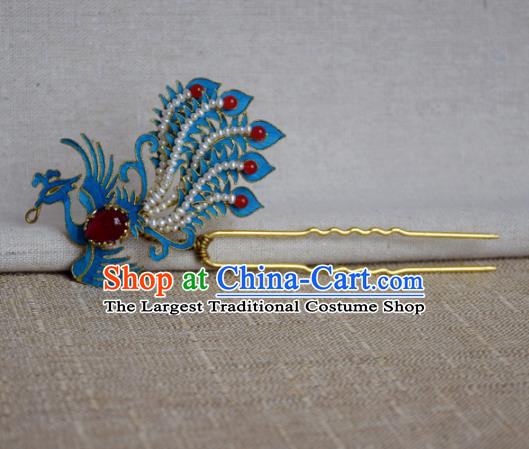 Chinese Handmade Qing Dynasty Palace Phoenix Hairpins Hair Accessories Ancient Hanfu Hair Clip for Women