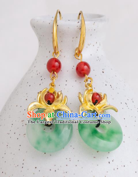 Asian Chinese Traditional Jewelry Accessories Hanfu Peace Buckle Earrings for Women