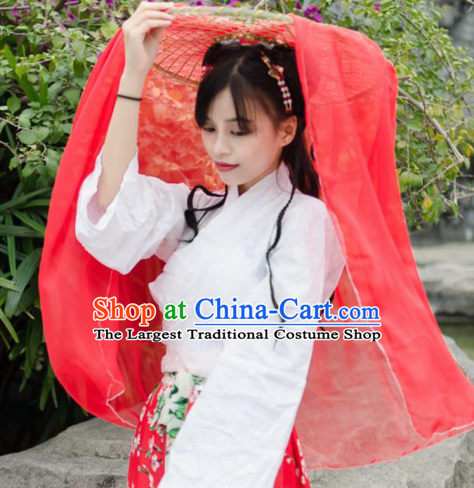 Chinese Traditional Hair Accessories Ancient Swordswoman Red Veil Bamboo Hat for Women
