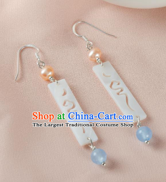 Asian Chinese Traditional Jewelry Accessories Hanfu Jade Earrings for Women