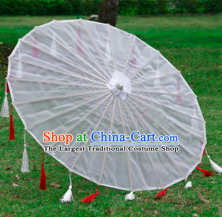 Chinese Traditional White Paper Umbrella Ancient Swordswoman Oil-paper Umbrella for Women