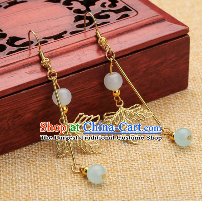 Asian Chinese Traditional Jewelry Accessories Hanfu Golden Leaf Earrings for Women