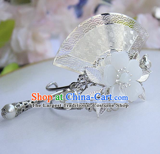 Chinese Ancient Hair Accessories Hanfu Fan-Shape Hairdo Crown Handmade Hairpins for Women