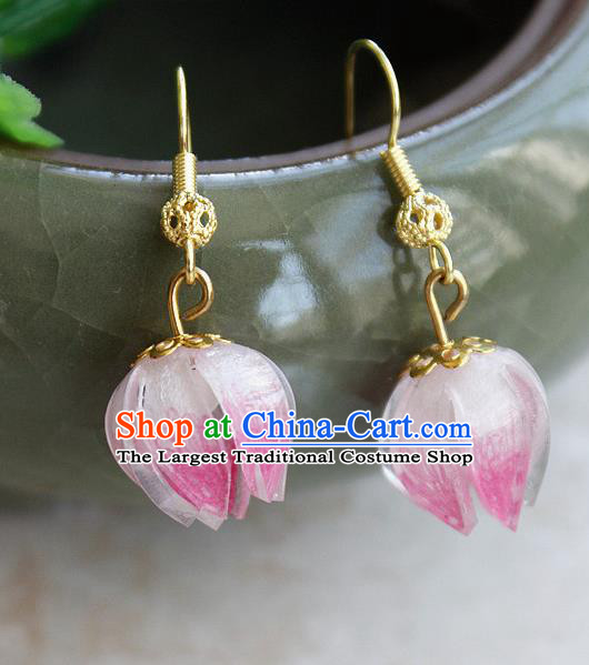 Asian Chinese Traditional Jewelry Accessories Hanfu Traditional Pink Flower Bud Earrings for Women