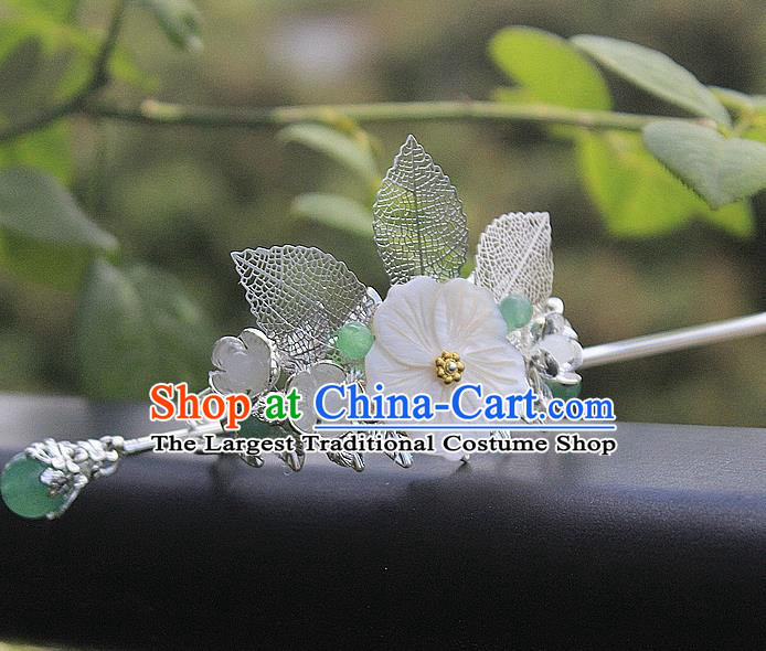 Chinese Ancient Hair Accessories Hanfu Shell Flower Hairdo Crown Handmade Hairpins for Women