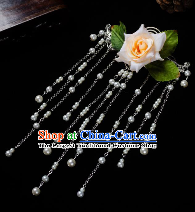 Chinese Ancient Hair Accessories Hanfu Tassel Step Shake Handmade Hairpins for Women