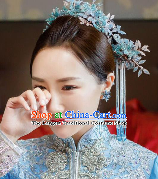 Chinese Ancient Bride Hair Accessories Blue Leaf Hair Comb Hanfu Handmade Hairpins for Women