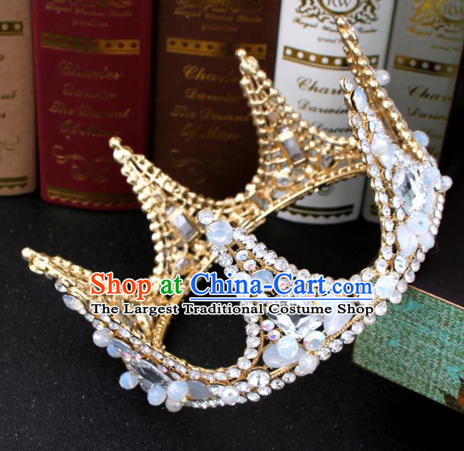 Top Grade Bride Hair Accessories Wedding Baroque Queen Round Crystal Royal Crown for Women