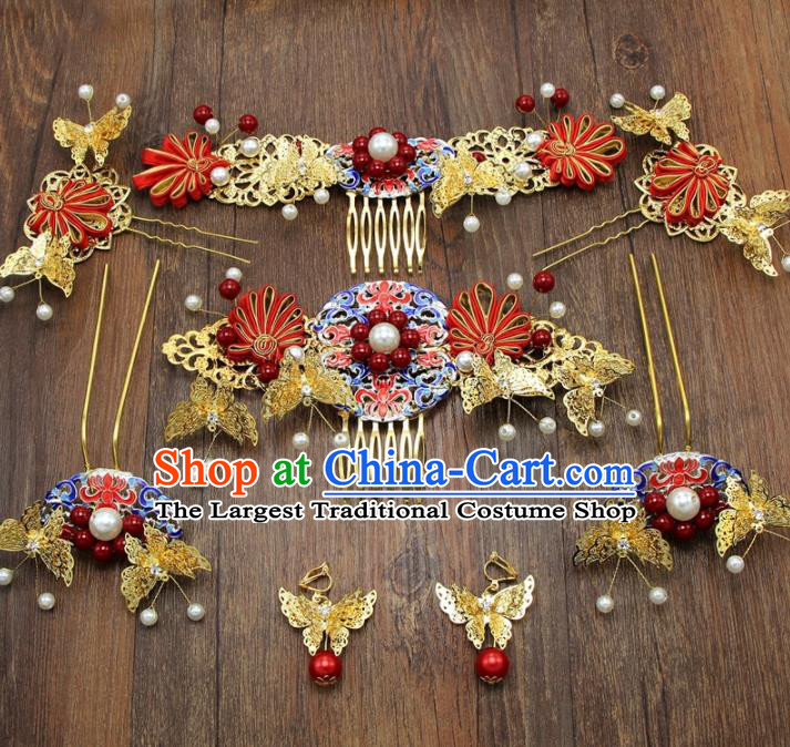 Chinese Ancient XiuHe Suit Cloisonne Hair Combs Hair Accessories Bride Handmade Hairpins Complete Set for Women