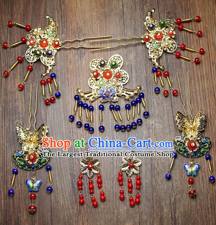 Chinese Ancient XiuHe Suit Handmade Blueing Butterfly Hairpins Hair Accessories Complete Set for Women