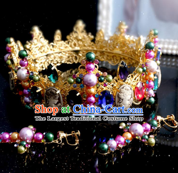 Top Grade Bride Hair Accessories Wedding Baroque Colorful Crystal Royal Crown and Earrings for Women