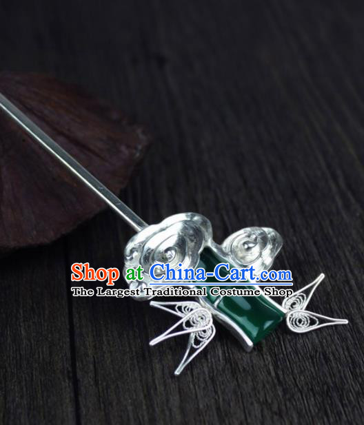 Chinese Ancient Handmade Palace Bamboo Hairpins Jade Hair Accessories Hair Clip for Women