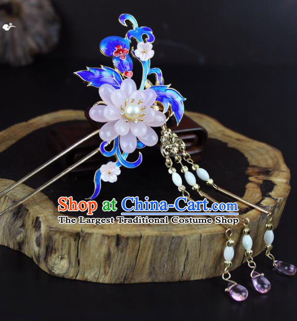 Chinese Ancient Handmade Palace Hanfu Hairpins Hair Accessories Blueing Hair Clip for Women