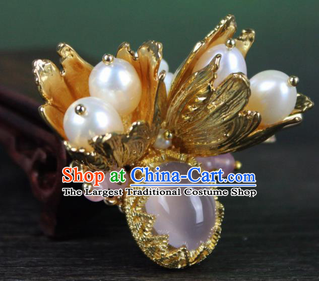 Chinese Ancient Handmade Palace Hanfu Hairpins Hair Accessories Pearls Hair Claw for Women
