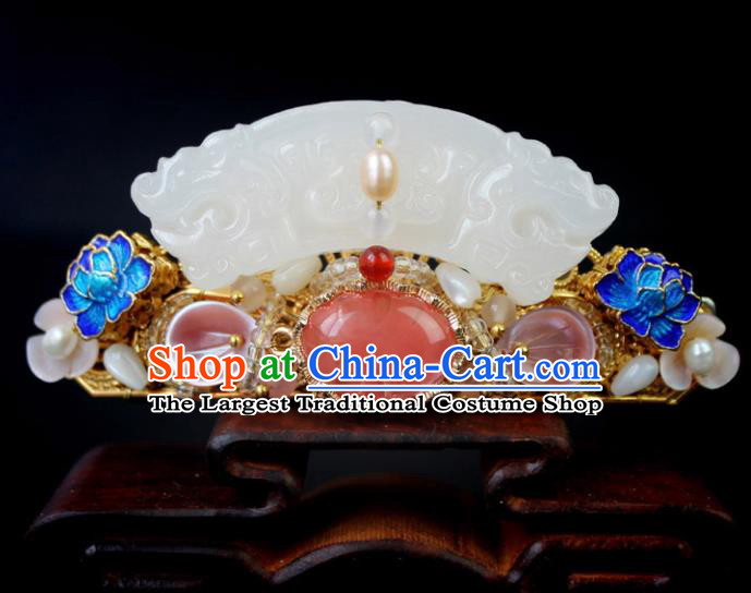 Chinese Ancient Handmade Palace Hanfu Hairpins Hair Accessories Jade Hair Crown for Women