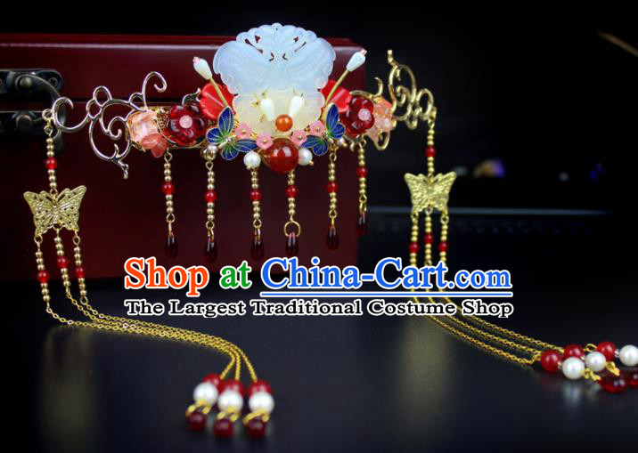 Chinese Ancient Handmade Hanfu Jade Hair Clip Tassel Hair Crown Hairpins Hair Accessories for Women