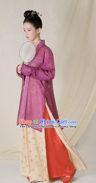 Top Grade Chinese Ancient Song Dynasty Young Lady Hanfu Dress Purple Clothing for Women