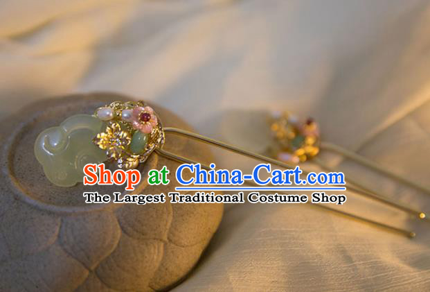 Chinese Ancient Handmade Hanfu Jade Hairpins Hair Accessories for Women
