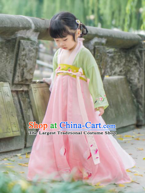 Traditional Chinese Ancient Costumes Tang Dynasty Princess Hanfu Dress for Kids