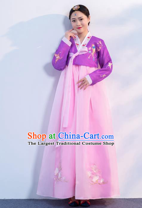 Asian Korean Traditional Costumes Korean Hanbok Purple Embroidered Blouse and Pink Skirt for Women