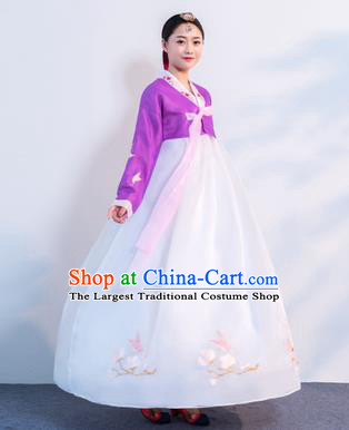 Asian Korean Traditional Costumes Korean Hanbok Purple Embroidered Blouse and White Skirt for Women