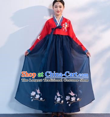 Asian Korean Traditional Costumes Korean Hanbok Red Embroidered Blouse and Navy Skirt for Women