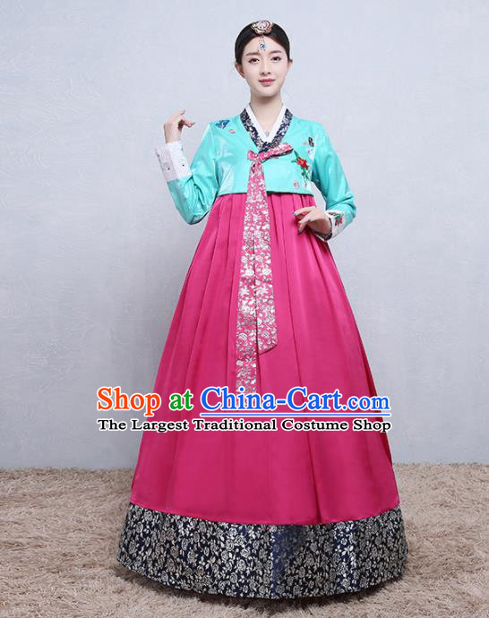 Asian Korean Traditional Costumes Korean Palace Hanbok Embroidered Blue Blouse and Rosy Skirt for Women