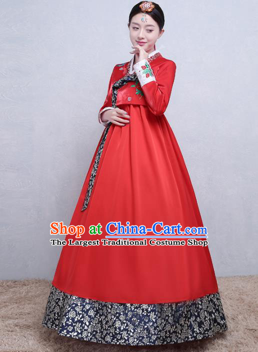 Asian Korean Traditional Costumes Korean Palace Hanbok Embroidered Red Blouse and Skirt for Women