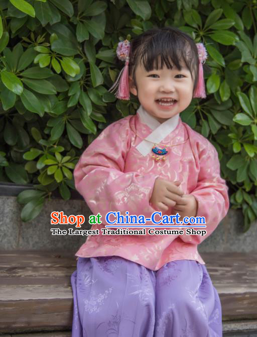 Traditional Chinese Ancient Costumes Ming Dynasty Princess Clothing Pink Blouse and Purple Skirt for Kids