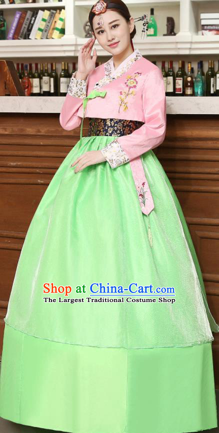 Korean Traditional Costumes Asian Korean Hanbok Palace Bride Embroidered Pink Blouse and Green Skirt for Women