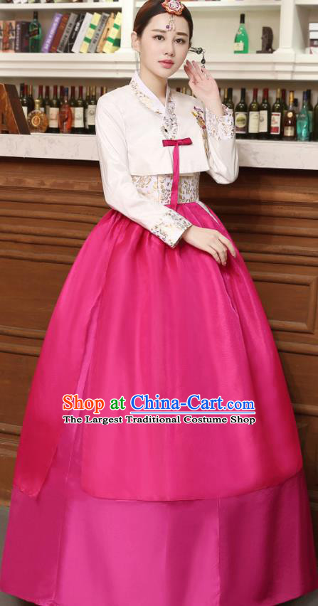 Korean Traditional Costumes Asian Korean Hanbok Palace Bride Embroidered White Blouse and Rosy Skirt for Women