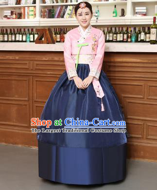 Korean Traditional Costumes Asian Korean Hanbok Palace Bride Embroidered Pink Blouse and Navy Skirt for Women