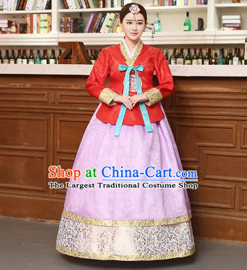 Korean Traditional Costumes Asian Korean Hanbok Palace Bride Embroidered Red Blouse and Lilac Skirt for Women
